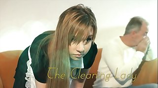OMG My dad fucks youthfull cleaning lady after she seduces him with his tight pussy and cool outfit she sucks his cock and lets the daddy screw her wet pussy hardcore on the couch