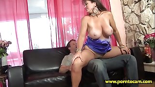 A horny brunette loves the sperm of her younger brother