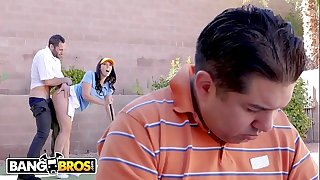 BANGBROS - Rachel Starr Fucks Her Golf Instructor While Her Cuck Spouse Reads The Paper